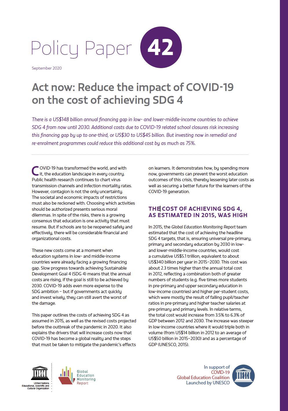 Act Now Reduce The Impact Of Covid 19 On The Cost Of Achieving Sdg 4 Global Education Monitoring Report