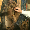 Restoration of a painting of the Virgin and Chilld in Venice