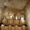 Abu Simbel temple,four statues of divinities in sanctuary