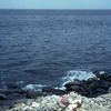 Polluted beach on the Island of Gorée, sea