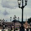 Pagoda, street lamps