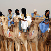 The starting line of a camel-race during the Moussem of Tan Tan, a festival of