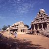 the Five Rathas of Mahabalipuram. From Left to right: Dharmaraja, Namdi, Arjuna