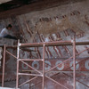 Restoration work on 'Avenue of the Dead'. Mural of a Jaguar.