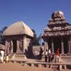 Two of the Rathas of Mahabalipuram: Dranpadi ratha (left) and Arjuna ratha (rig