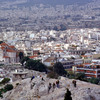 View over the city of Athens from the Acropolis. Rock 'Areios Pagos' in foregro
