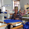 Young women working in textile workshop