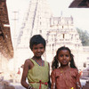 Two young girls in the Virupaksha Temple complex at Hampi built in honour of th