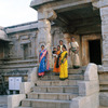 An Indian family at the Vitala temple at Hampi