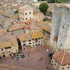 "Panoramic view of Piazza ""Duomo"" from the highest tower of San Gimignano"