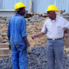 June 2008 : A worker and an engineer on the site of the re-installation of the