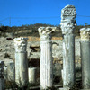 Ruins of the Roman theatre, columns, Roman capitals,