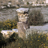 Ruins in the Roman theatre, column and capital