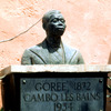 Bronze bust, commemorative plate. Slavery. Inscription, Gorée 1872, Cambo les B