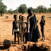 Water, African children drawing water from a traditional well, savanna, traditi