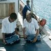 Measuring equipment on scientific boat, ocean preservation, scientific research