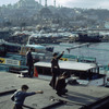 Activities on the Bosphorus peninsula, peninsula, port, wharfs, mosque, minaret