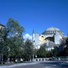 Hagia Sophia Church, Byzantine art, cupola, minarets, street, basilica