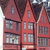 'Bryggen', the old wharf of bergen, wooden houses, Scandinavian architecture