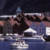 'Bryggen', the old wharf of Bergen, wooden houses, harbour, Scandinavian archit