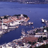 Aerial view of Bergen, coastal town, harbour