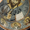 Interior of the Karanlik church, Byzantine art, wall painting, Christ blessing