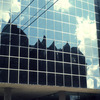Downtown, reflected light in glass windows