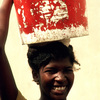 Everyday life, water gathering, woman carrying water, bucket