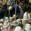 Everyday life, local market, hats display