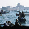 Activities on the Grand Canal of Venice, gondolas, boats