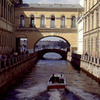 Canal 'Zimnaya Kanavka' and palace, boat, Russian classical architecture, cover