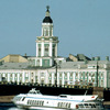 Palace 'Kunstkamera' on the river Neva banks, Russian classical style, boat