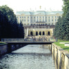 The canal, fountain of Samson and the facade of the palace, park