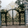 One of the iron gates of the Palace of Catherine II, wrought iron, park, Russia