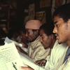 Literacy class for adults, adult education, men