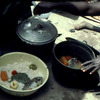 Traditional cooking, rice and fish, cooking pot