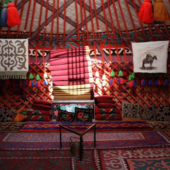 Inside a yurt, kyrgyz traditional dwelling