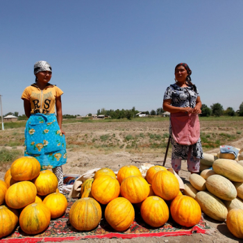 Women selling melons