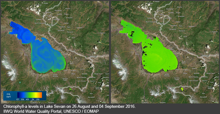 Chlorophyll-a levels in Lake Sevan (Armenia) on 26 August and 04 September. IIWQ World Water Quality Portal, UNESCO / EOMAP