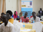 Journalists attending a session during the 5-day capacity building workshop on conflict sensitive and gender responsive reporting in Juba