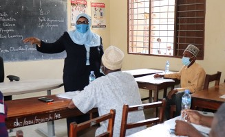 Director for Department of Alternative Learning and Adult Education Ms. Mashavu Ahmada Faki during the data training in Pemba
