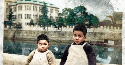Brothers and the Hiroshima Prefectural Industrial Promotion Hall (Atomic bomb Dome) in 1938. Courtesy of Tokusô Hamai.