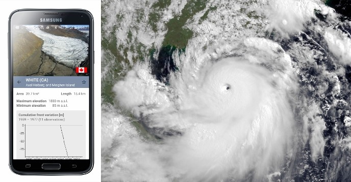 Glacier app and image of Typhoon Rammasun from July 2014