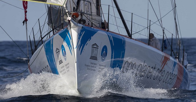 One Planet, One Ocean & Pharmaton, competing in the Barcelona World Race