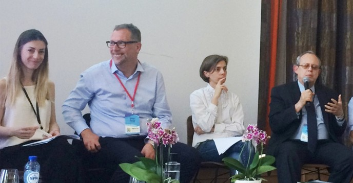 From left to right: Elena Plexida from the EU Commission, ICANN's CEO Goran Marby, ISOC's Constance Bommelaer de Leusse, and  UNESCO's Frank La Rue discuss the relevance of multistakeholderism.