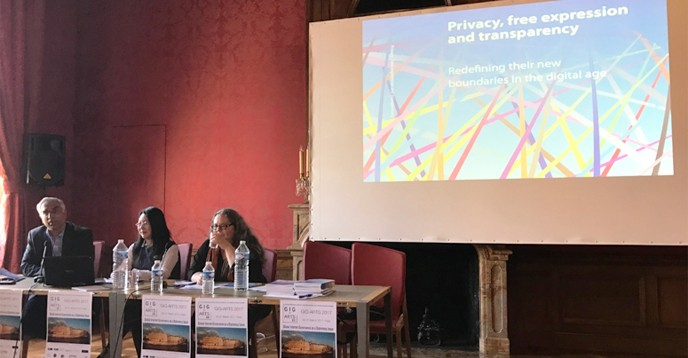Speakers: Joe Cannataci, University of Malta and University of Groningen, The Netherlands; United Nations Special Rapporteur on the Right to Privacy; Xianhong Hu, UNESCO, and the Moderator: Meryem Marzouki, CNRS and UPMC Sorbonne Universités, France.