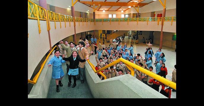 Children in their new school building in Santiago, Chile.