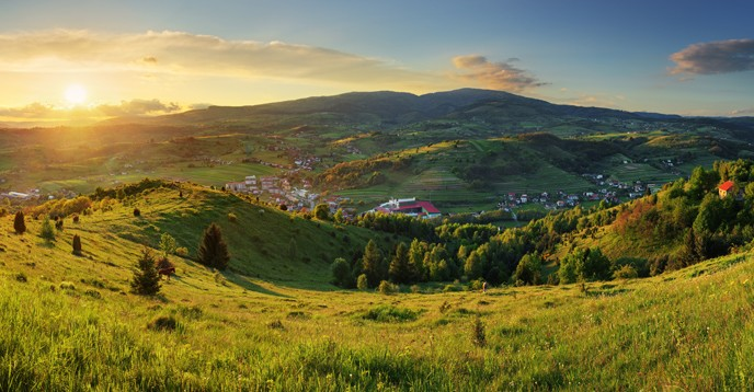 View of a village in the Polana Biosphere Reserve, Slovakia